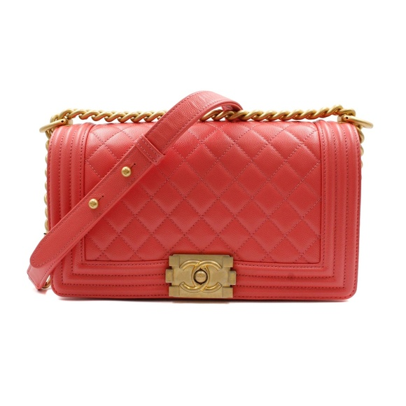 CHANEL Handbags - Chanel Pink Medium Caviar Calf Skin Boy Bag